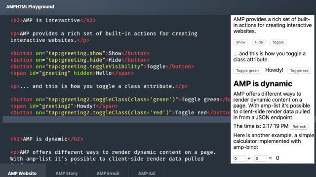 Google AMP toggle class attributes