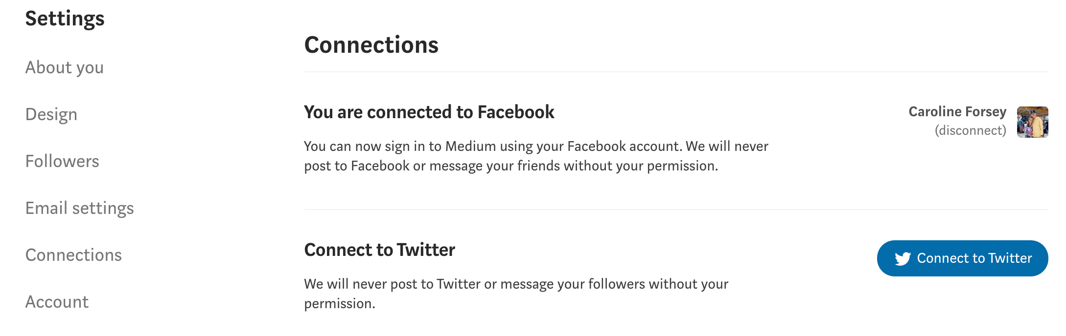 Connecting your Medium account to social pages