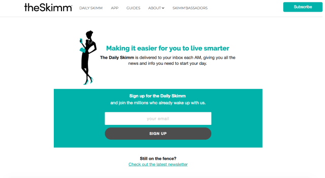 theSkimm's page with subscription form at the top of the page