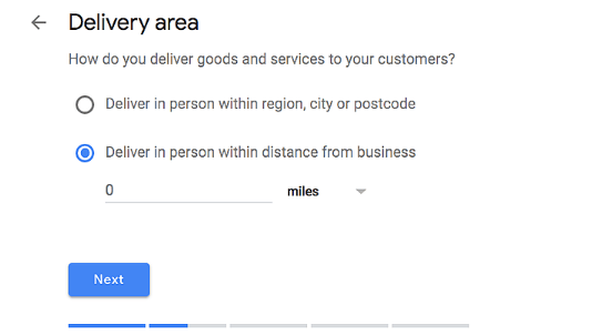 Google My Business Delivery Area Form