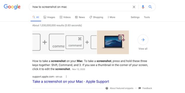 Featured snippet example on SERP