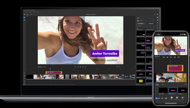 Premiere Pro video editing software on PC and mobile