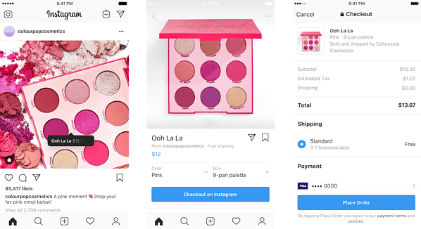 Instagram shopping post and store