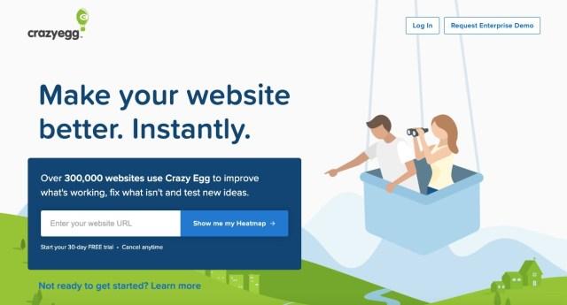 homepage of web analytics tool crazyegg