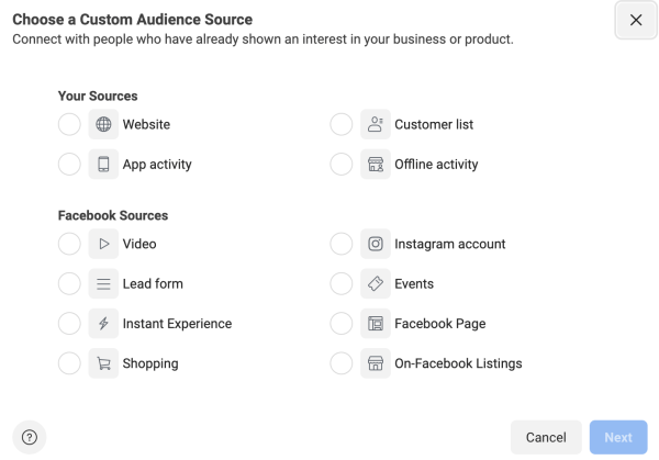 Facebook ads custom audience source.