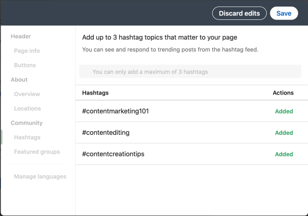 Example of three hashtags LinkedIn users can put on their business page