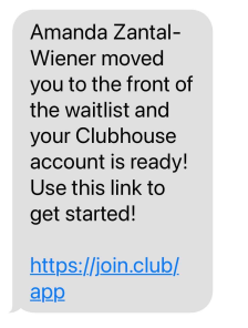 invitation from friend to Clubhouse app