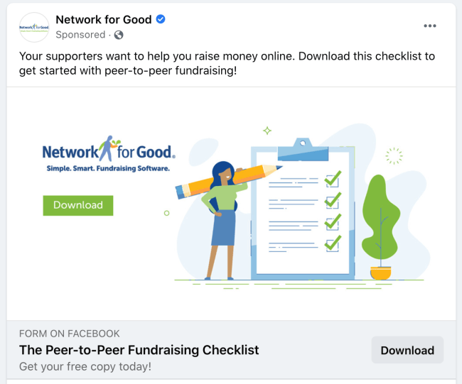 Network for Good facebook ad on peer to peer fundraising checklist