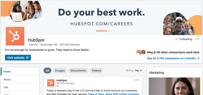 hubspot linkedin page design and layout