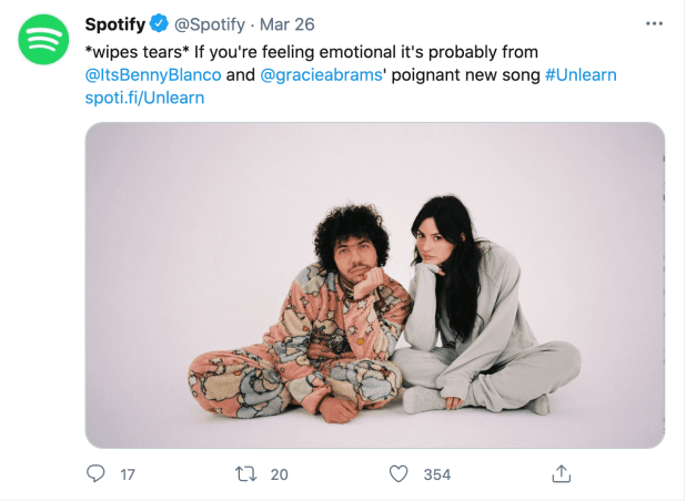 Spotify's tweet, showcasing the witty brand voice.