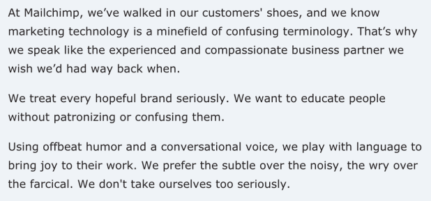 Mailchimp's Style Guide for brand voice.