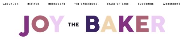 Joy the Baker blog organization tags