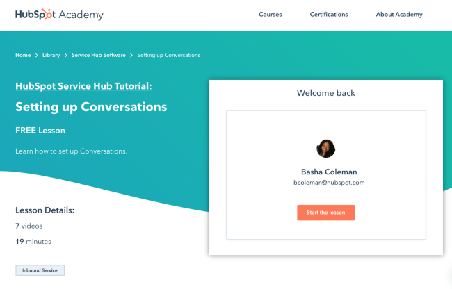 Example of a course landing page HubSpot academy