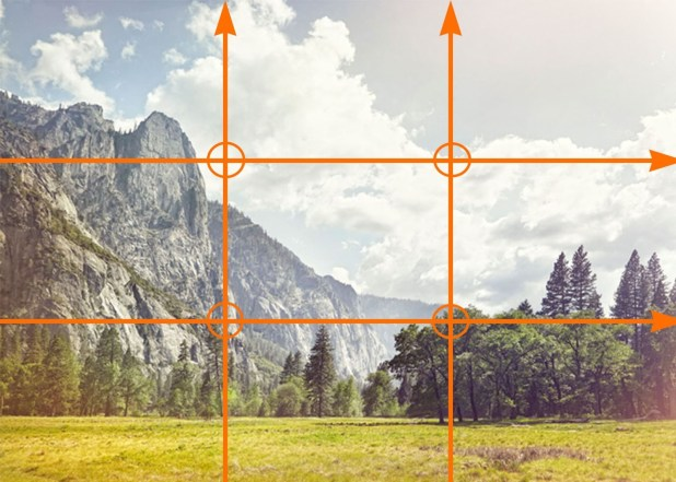 the intersecting points on a rule of thirds grid