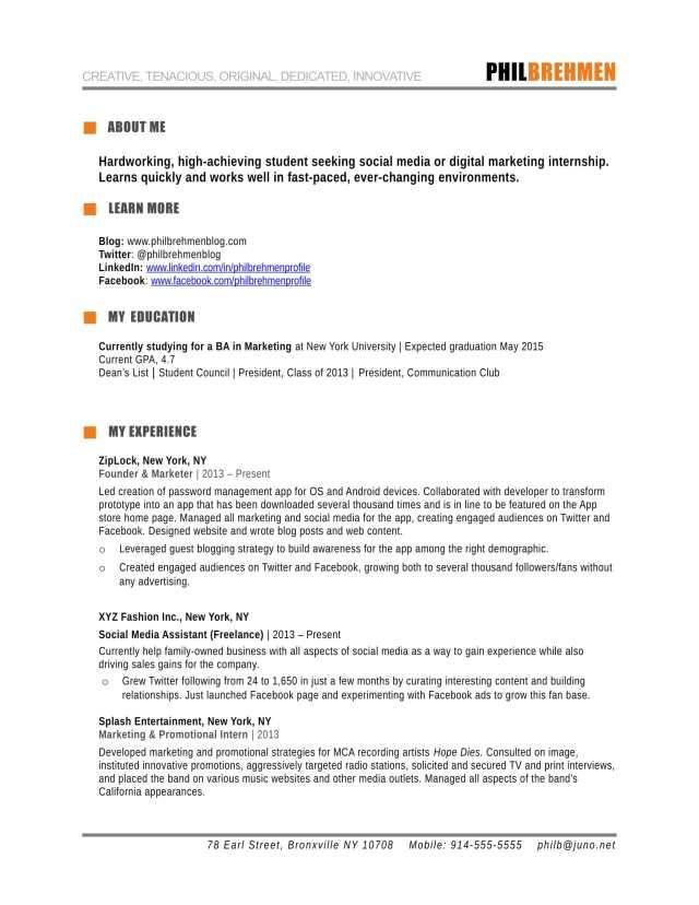 inbound marketing intern resume example
