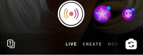 Screenshot of Instagram Live Broadcast Button