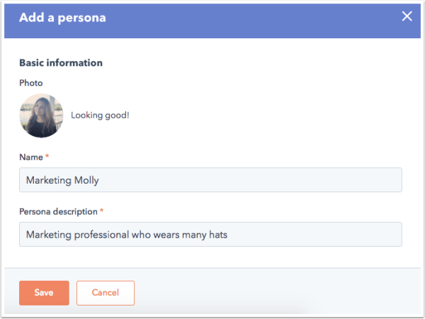 HubSpot form to add a buyer persona to a digital marketing strategy