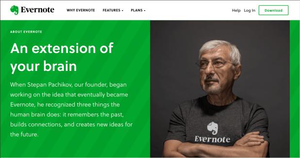 Evernote's media kit homepage