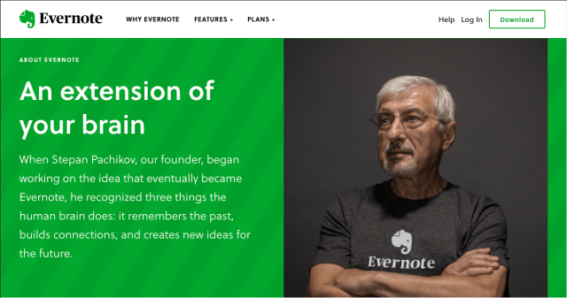 Evernote's media kit homepage