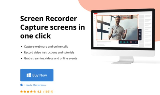 MovaviScreenRecorder homepage website showing a monitor with a man hosting a webinar and text that says Screen recorded capture screens in one click and a call-to-action inviting the viewer to buy now