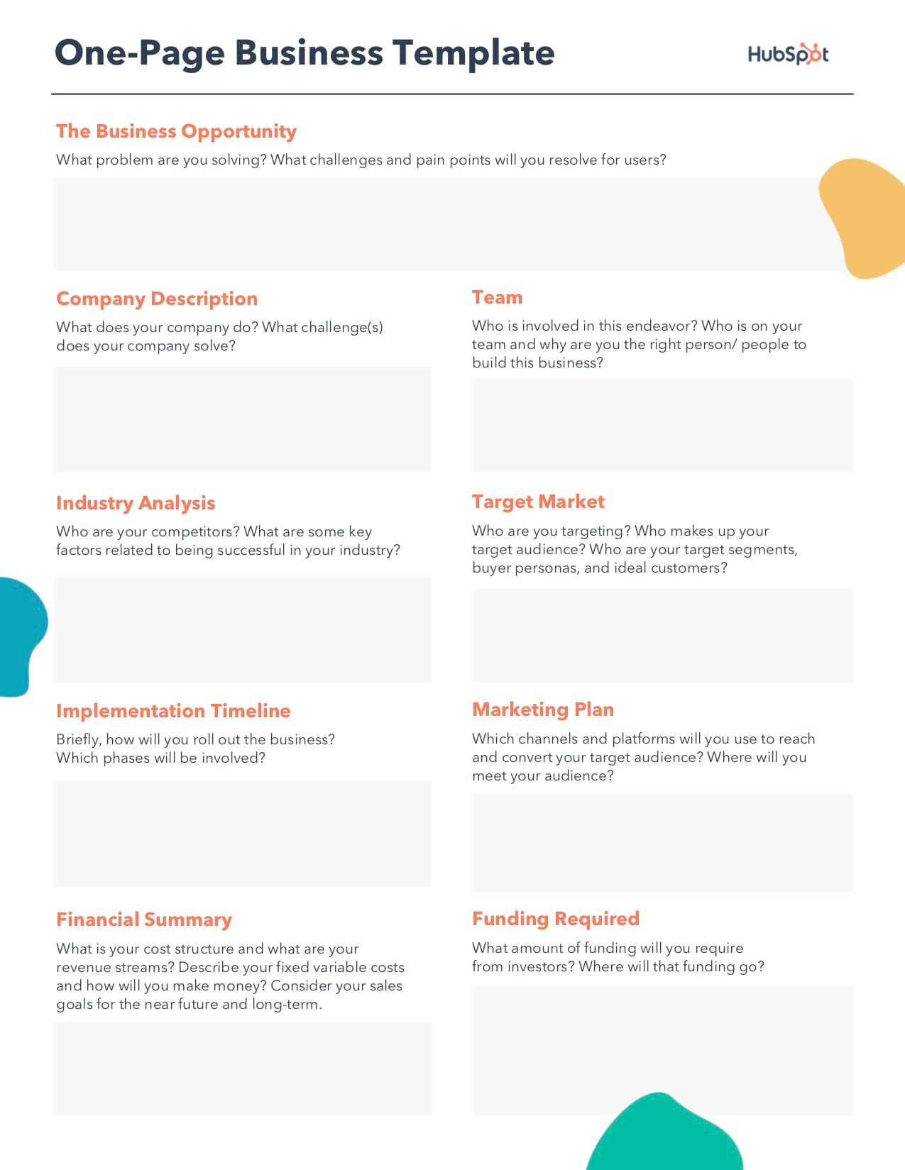 free editable One-Page Business Plan PDF  Template