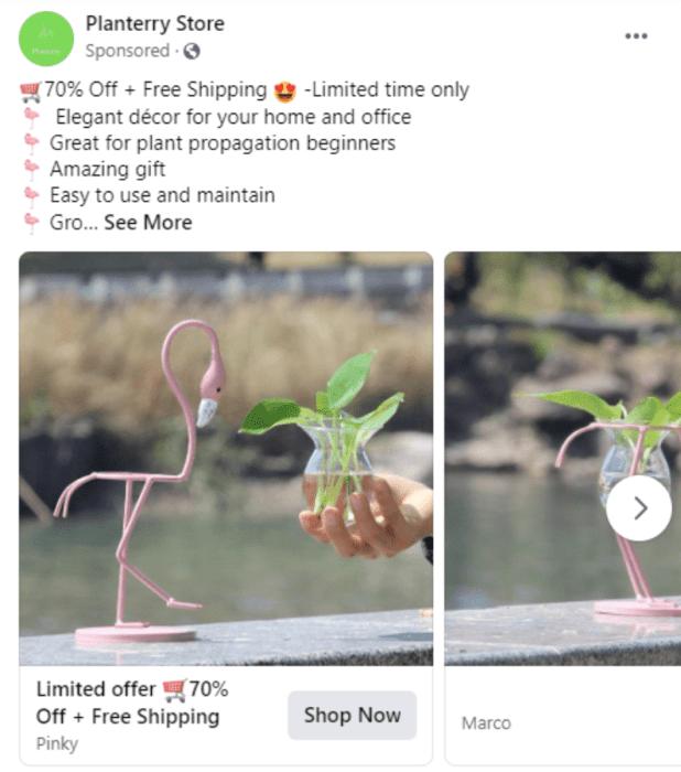 Planterry Store Facebook ad