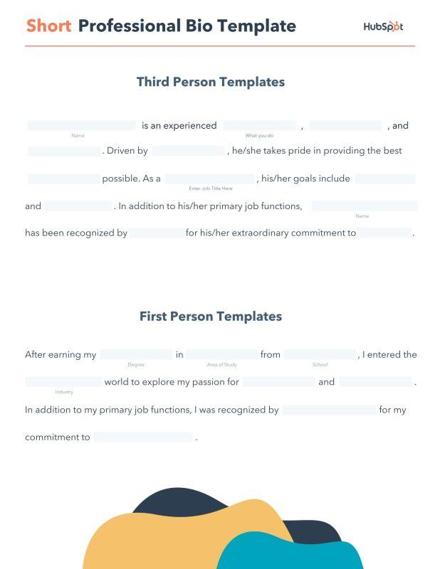 editable short professional bio pdf template