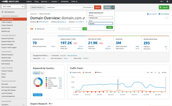 SEMrush domain overview dashboard