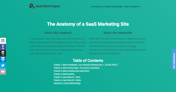 Pillar page on the anatomy of a SaaS Marketing Site by ProfitWell