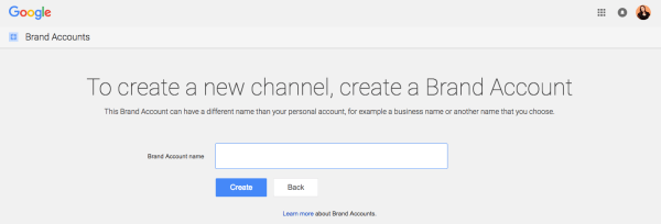 create a brand account in youtube
