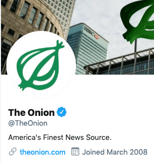 Funny Twitter bio from @TheOnion