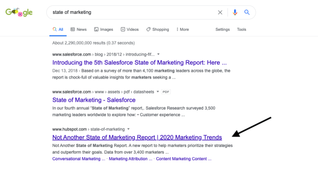 state of marketing search engine results page