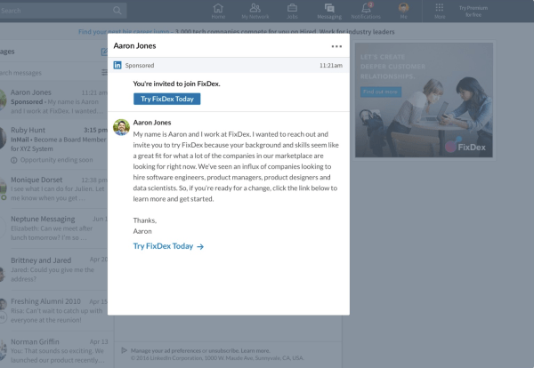 type of linkedin ad message ads
