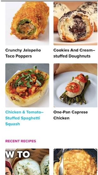Tasty's Google AMP homepage on mobile.