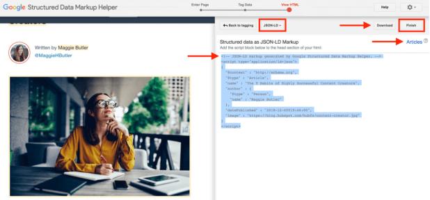 structured data google markup tool add schema markup to page