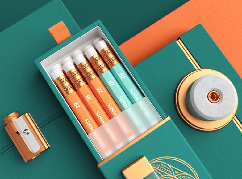 orange and teel pencil case