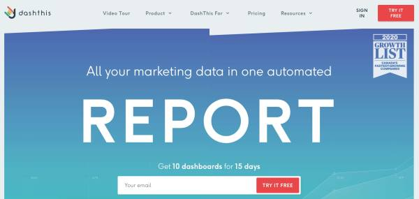 Business Intelligence & Data Reporting Tools example dashthis