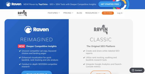 Business Intelligence & Data Reporting Tools example raven tools
