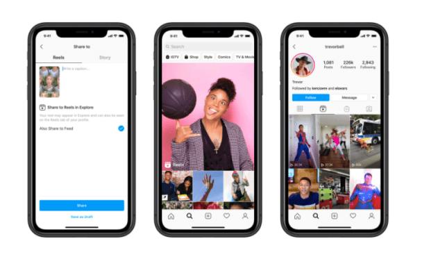 Instagram Reels shown on three separate phone screens