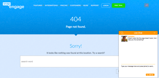 Blue 404 error page on SnapEngage website with proactive live chat window on bottom righthand corner