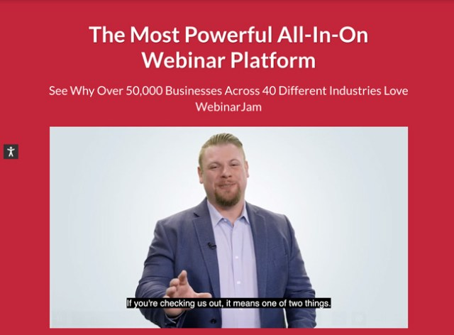 WebinarJam Website homepage that has a bright red background and shows a man hosting a webinar. Text says The most powerful all-in-on webinar platform