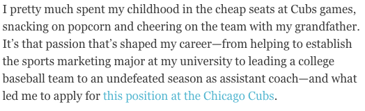 """cover letter that explains """"why"""" with a story about a childhood experience with the chicago cubs"""