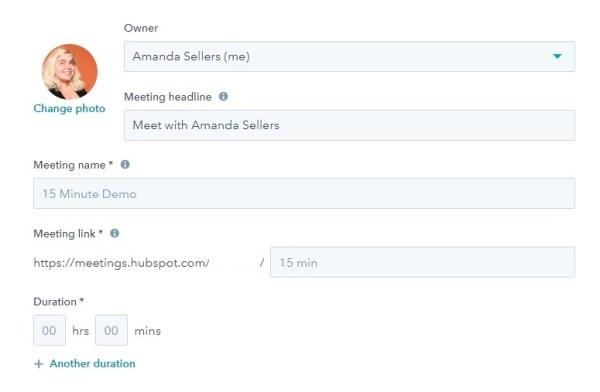 screenshot of meetings tool to add meeting details in hubspot