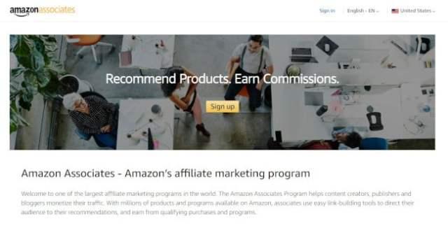 page d'accueil des associés amazon