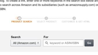 zone de liens de produits amazon où vous entrez un numéro ou recherchez