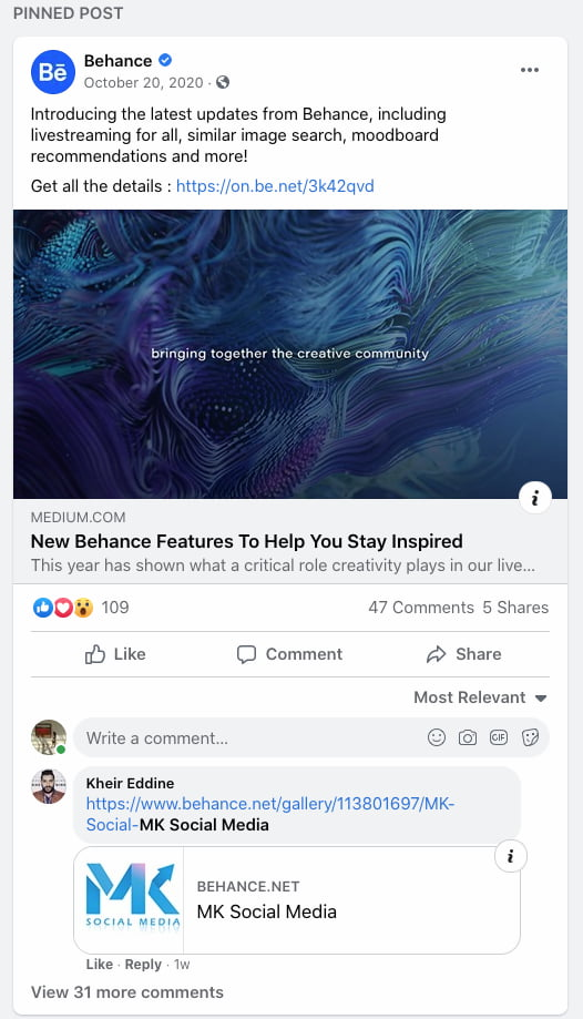 Behance pinned Facebook post announcing its new features