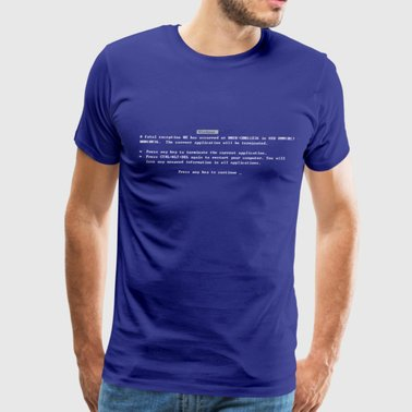 T-shirt with Blue Screen of Death error message printed on it