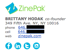 Professional email signature example by Brittany Hodak with multiple colors