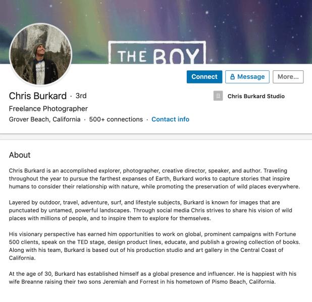 Chris Burkard's professional bio on LinkedIn
