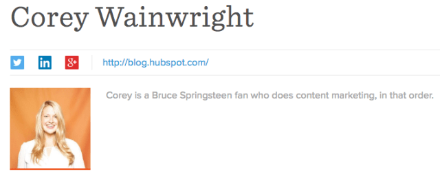 Corey Wrainwright's professional bio as a blog byline for HubSpot